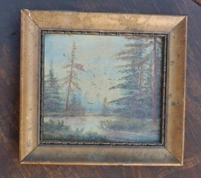 Tablou mic ulei pe panza vechi foto