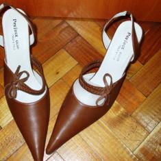 Pantofi cu toc maro varf ascutit din piele PERFECT ONE ITALY STYLE 38, Negru, Asos