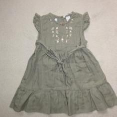 Rochita de vara kaki cu flori, marca HM, fetite 12-18 luni, Culoare: Khaki