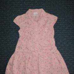 Rochita de vara roz cu floricele, marca NEXT, fetite 12-18 luni