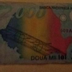 Vând bancnotă de 2000 lei eclipsă seria A - Bancnota romaneasca