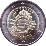 SLOVENIA 2 euro comemorativa 2012 TYE-10ani euro, UNC