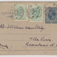 CARTE POSTALA  25.07.1896  BUCURESTI - OLANDA ; LECTIA CU  ERORI FILATELICE
