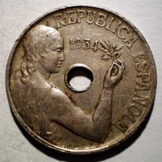 1.821 SPANIA 25 CENTIMOS 1934, Europa, Cupru-Nichel