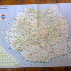 Harta statiilor de benzina PECO, 1973, cu produse PECO, si amanuntit statiile din Bucuresti, Iasi, Timisoara, Cluj, Brasov si Constanta, 65x43cm