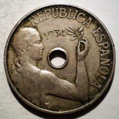 1.832 SPANIA 25 CENTIMOS 1934, Europa, Cupru-Nichel