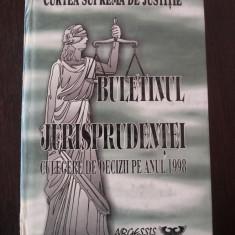 BULETINUL JURISPRUDENTEI - CULEGERE DE DECIZII PE ANUL 1998 -- Curtea Suprema de justitie -- 1999, 549 p. - Carte Jurisprudenta