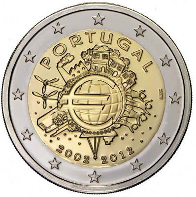 PORTUGALIA 2 euro comemorativa 2012 TYE-10ani euro, UNC foto