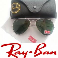 Ochelari Ray Ban Aviator Sticla + Toc ray ban + Lavetica - Ochelari de soare Ray Ban, Unisex, Verde, Metal, Protectie UV 100%