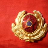 Insigna Militara de Sapca model vechi (RPR) cu inscriptie RSR, metal si email, L= 5 cm - rara !
