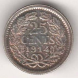 SV * Olanda  25  CENTS  1914   ARGINT   Regina Wilhelmina    VF +/XF