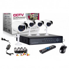 KIT COMPLET 4 CAMERE INFRAROSU DE SUPRAVEGHERE,DVR INCLUS,CONECTARE INTERNET D1., Exterior, Wireless, Color