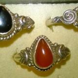 Set!lot 3 inele argint 925 marime mare:9 cu pietre naturale pear cut: onix, carneol si lapis lazuli - Inel argint