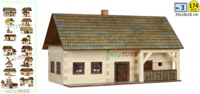 Set casuta din barne lemn Casa Taraneasca Gospodarie eco walachia homestead lego foto