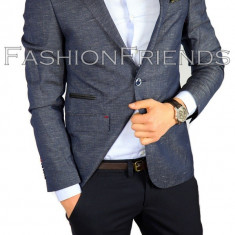 Sacou tip Zara Man bleumarin - sacou barbati- sacou casual - cod 3852, Marime: 48, Culoare: Din imagine