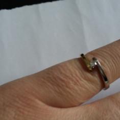 Inel aur cu diamant - Inel diamant, Carataj aur: 18k, Culoare: Alb, 46 - 56