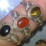 Set!lot 3 inele argint 925 marimea 6, pietre naturale oval cut caboson: carneol; onix si ochi de tigru!! - Inel argint