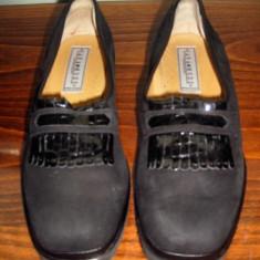 Pantof dama Made in Italia piele Sana Mode Italia cu talpa ortopedica marimea 38 - NOU, Culoare: Negru, Piele sintetica