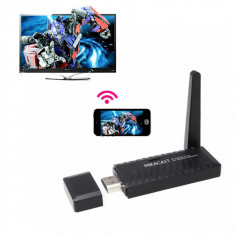Aparat WIRELESS ce permite celor cu tel. sau tableta cu ANDROID WINDOWS MOBILE 8 sau IOS sa transmita si sa vada filme, poze, sau muzica pe televizor