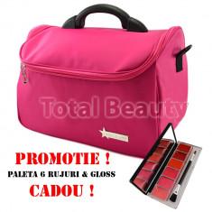 Geanta cosmetica si manichiura Fraulein38 Rose Pink + CADOU Paleta 6 Ruj - Geanta cosmetice