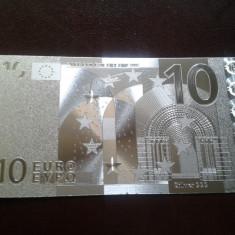 Bancnota 10 Euro placata cu Ag 99.9% - bancnota europa