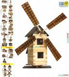 Set constructie din lemn Moara de Vant jucarie eco walachia windmill lego wood