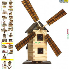 Set constructie din lemn Moara de Vant jucarie eco walachia windmill lego wood - Set de constructie Walachia, 8-10 ani, Unisex