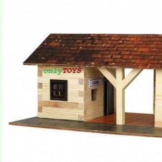 Set casute din lemn Gara mica - Statie tren eco walachia railway station lego - Set de constructie Walachia, 8-10 ani, Unisex