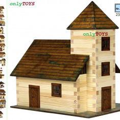 Set constructie casuta casute din lemn Biserca eco walachia church lego wood log - Set de constructie Walachia, 8-10 ani, Unisex