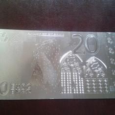 Bancnota 20 Euro placata cu Ag 99.9% - bancnota europa
