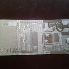 Bancnota 50 Euro placata cu Ag 99.9% - bancnota europa