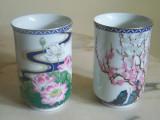 Set cani portelan fin de ceai sau sake Japonia flori traditionale zodiac