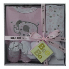 Bee Bo Set 4 piese cadou haine bebelusi body nou nascuti 0-3 luni roz gri, Marime: Masura unica
