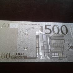 Bancnota 500 Euro placata cu Ag 99.9% - bancnota europa