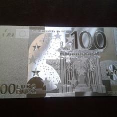 Bancnota 100 Euro placata cu Ag 99.9% - bancnota europa