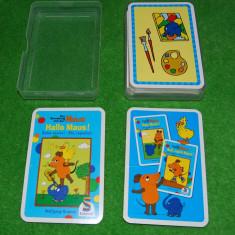 Joc de carti pentru copii cu imagini foarte frumoase cu soricel (soarece), Hallo Maus, instructiuni inlimba germana, complet, 15 perechi de imagini, - Jocuri Board games