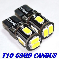 Bec LED T10 W5W CAN-BUS 6x 5630 SMD Alb Pur fara eroare bec ars A049 - Led auto EuropeAsia, Universal