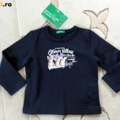 Nou! Bluza de trening bleumarin, marca BENETTON, fetite 24 luni, Fete
