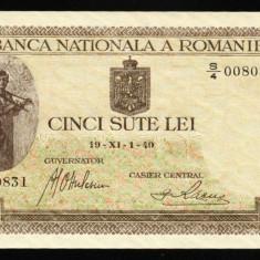 ROMANIA 500 LEI 1940 UNC NECIRCULATA - Bancnota romaneasca