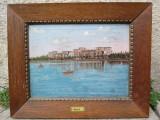 Cumpara ieftin Vedere a orasului Siófok - Ungaria , malul lacului Balaton , pictura veche in ulei pe panza