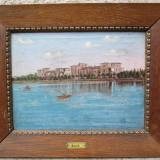 Vedere a orasului Siófok - Ungaria, malul lacului Balaton, pictura veche in ulei pe panza - Pictor roman
