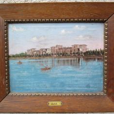 Vedere a orasului Siófok - Ungaria , malul lacului Balaton , pictura veche in ulei pe panza