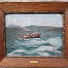 Vapor pe  lacul Balaton , pictura veche in ulei pe panza , marina