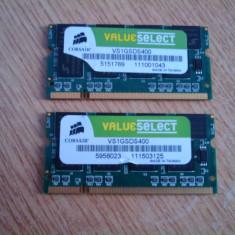 MEMORIE LAPTOP DDR 400MHZ CORSAIR VALUE SELECT 1GB IMPECABILA - Memorie RAM laptop Corsair, Dual channel