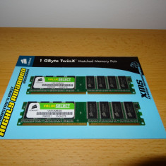 Kit 1 GB RAM DDR Corsair (2 x 512 MB) VS512MB400 - Memorie RAM Corsair, 400 mhz, Dual channel