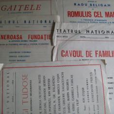 Lot 5 programe de teatru (Teatrul National din Bucuresti) - Hagi Tudose, Cavou de familie, Romulus cel Mare, Generoasa fundatie, Gaitele, Circulata, Altul, Romania de la 1950