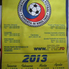 DE COLECTIE - Calendar (2013) panza 70/33 cm, stare perfecta Federatia Romana de Fotbal