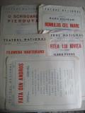 Lot 5 programe de teatru(Teatrul National din Bucuresti)-Fata din Andros,Filumena Marturano,Cartea lui Iovita, Romulus cel Mare,  O scrisoare pierduta, Circulata, Altul, Romania de la 1950