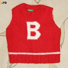 Vesta tricotata rosie, marca BENETTON, baieti 3 ani, Culoare: Rosu