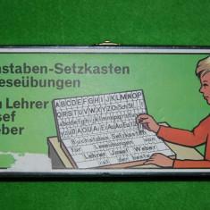 Joc educativ de invatat limba germana, Buchstaben - Setzkasten für Leseübungen von Lehrer Josef Weber, vechi, vintage, colectie, anii '40, educatie, - Jocuri Logica si inteligenta